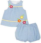 Florence Eiseman Floral-Appliqué Cotton-Blend Dress & Bloomers Set-Blue