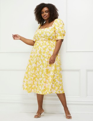 ELOQUII Elements Puff Sleeve Fit And Flare Dress