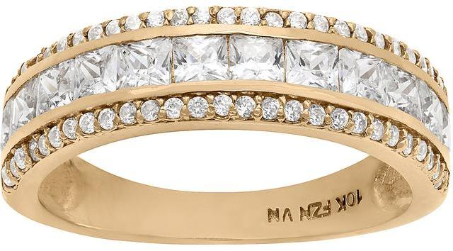 Tiara 1 1/2 CT Cubic Zirconia 10K Gold Channel Set Semi-Eternity Wedding Band