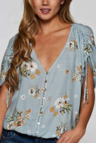 Love Stitch Lovestitch Button-Up Floral Top