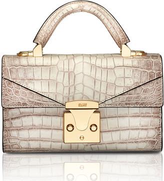 Stalvey Mini Crocodile Top Handle Bag, Neutral