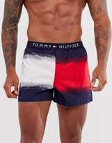 Tommy Hilfiger cotton icon woven boxer with logo waistband in navy with dip dye flag