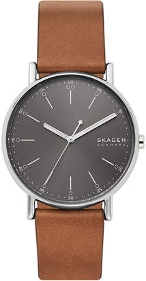 Skagen Men Signatur Brown Leather Strap Watch 40mm