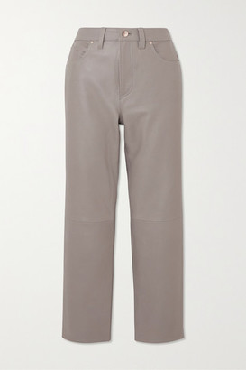 Gold Sign The Relaxed Straight Cropped Leather Pants - Gray