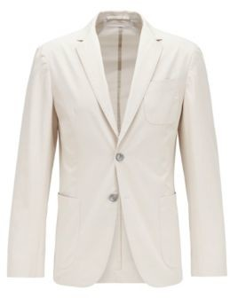 HUGO BOSS Slim Fit Jacket In Midweight Cotton And Patched Pockets - White