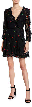 The Kooples Cherry-Embroidered Lace Wrap Dress w/ Waist Tie