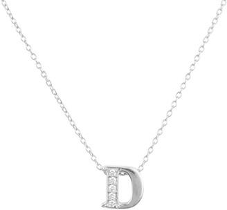 Latelita Diamond Initial Letter Pendant Necklace Silver D