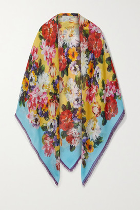 Dolce & Gabbana Frayed Floral-print Cashmere And Silk-blend Scarf - Blue