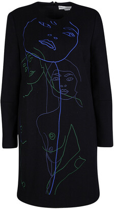 Stella McCartney Black Wool Embroiderd Faces Long Sleeve Melton Shift Dress S