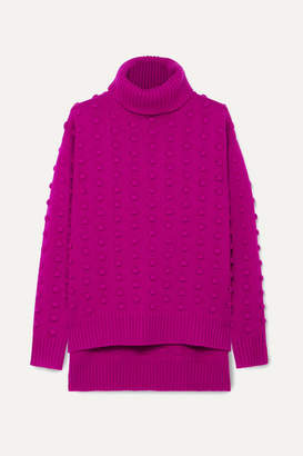 Lela Rose Bobble-knit Wool And Cashmere Blend Turtleneck Sweater - Magenta