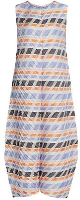 Issey Miyake Multi-Stripe Pleats Midi Dress