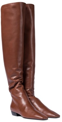 The Row Slouchy leather over-the-knee boots