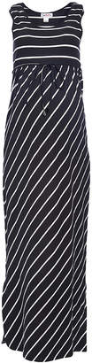 Times 2 Women's Casual Dresses BLACK/WHITE - Black & White Stripe Empire-Waist Maxi Dress - Plus Too