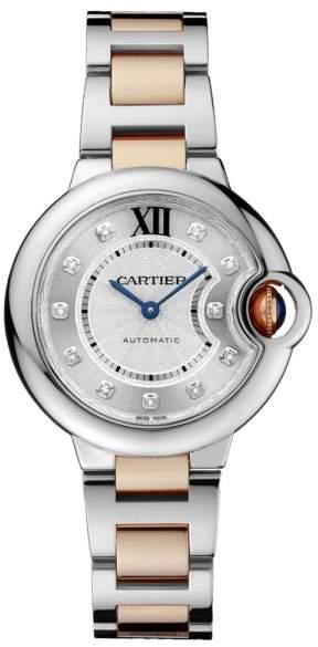 Cartier Ballon Bleu 33 18K Rose Gold & Stainless Steel Watch Diamond Dial on Bracelet WE902061