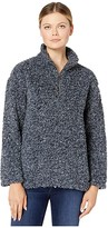 True Grit Dylan By Dylan by Faux-Shearling Pile Drop Shoulder 1/4 Zip Pullover with Soft Knit Lining (Navy) Women's Clothing