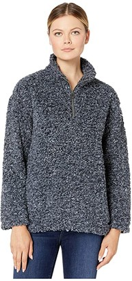 True Grit Dylan by Faux-Shearling Pile Drop Shoulder 1/4 Zip Pullover with Soft Knit Lining (Navy) Women's Clothing