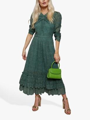 Little Mistress Tiered Frill Hem Midi Lace Dress, Blue