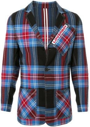 Charles Jeffrey Loverboy Fitted Tartan Pattern Blazer