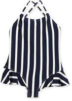 Milly Minis Striped One-Piece Swimsuit w/ Ruffle Trim, Size 8-14
