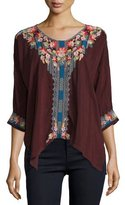 Johnny Was Rosa Embroidered Dolman-Sleeve Blouse, Plus Size