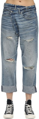 R 13 Distressed Crossover Cotton Denim Jeans