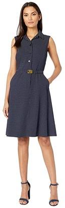 Lauren Ralph Lauren Aadi Sleeveless Day Dress (Lighthouse Navy/Lauren White) Women's Dress