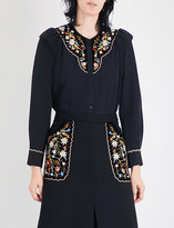 Vilshenko Marina floral-embroidered cotton and silk-blend blouse