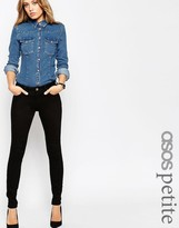 Asos Lisbon Mid Rise Skinny Jeans In Clean Black