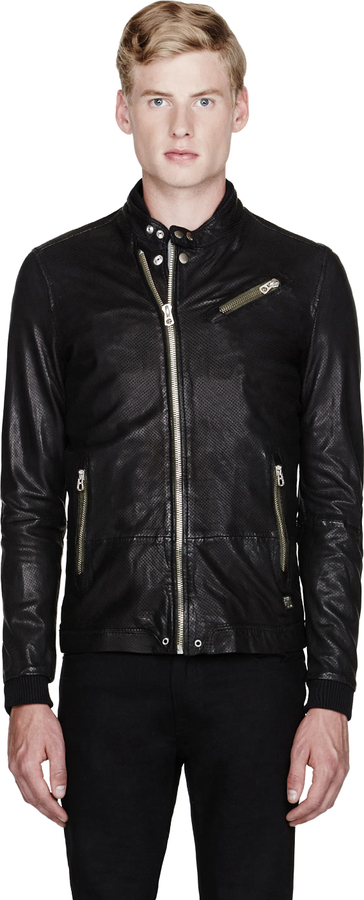 Diesel Black Perforated Leather Lohar Jacket