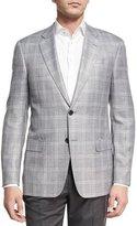 Armani Collezioni Plaid Two-Button Sport Coat, Light Silver/Gray