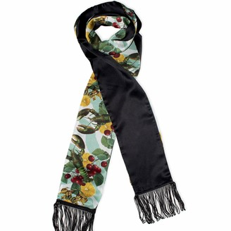 Texas And The Artichoke Lobsters Green Double Sided Fringed Skinny Silk Scarf