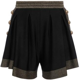 Balmain Black Metallic Knit Shorts