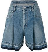 Sacai denim flared shorts - women - Cotton - 4