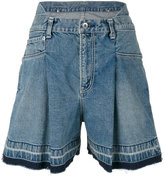 Sacai denim flared shorts