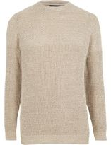River Island Cream Textured Knit Slim Fit Jumper