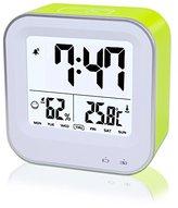 Digital Alarm Clock Rechargeable, Samshow Portable Clock with Temperature, Humidity, Week 12/24h Display, Snooze, Sensor Backlight, Loud Alarm for Heavy Sleepers, Teens, Kids (Green)