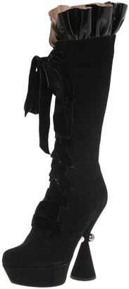 Louis Vuitton Black Suede and Patent Ruffle Cancan Velvet Lace Up Knee Boots Size 37