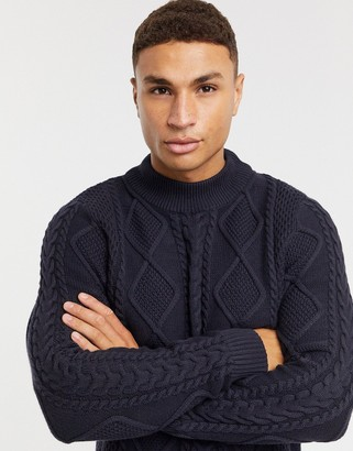Jack and Jones cable sweater with high neck in navy