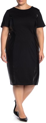 Junarose Jrmonica Faux Leather Paneled Shift Dress (Plus Size)