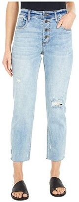 KUT from the Kloth Rachel Mom High-Rise Straight Crop in Enticing (Enticing Wash) Women's Jeans