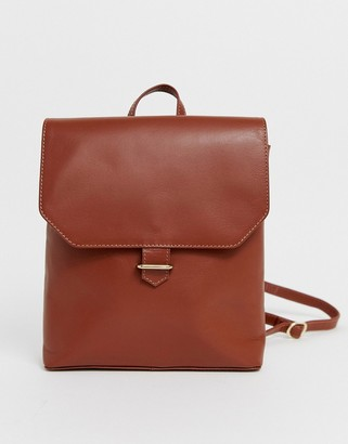 Asos Design DESIGN leather backpack with slot through detail-Tan
