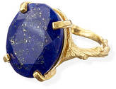 Lapis Chupi Lazuli And 18k Gold Plated Silver Cocktail Ring