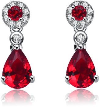 Collette Z Sterling Silver Red Cubic Zirconia Dress Earrings