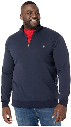 Polo Ralph Lauren Big & Tall Quarter Zip Double Knit Sweater (Aviator Navy) Men's Clothing
