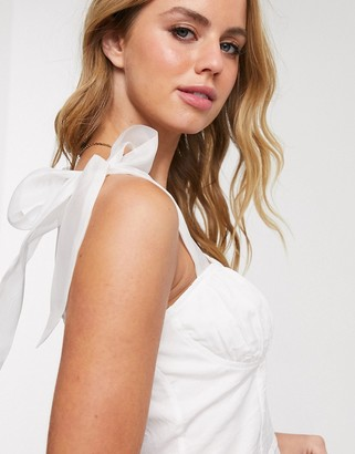 In The Style x Fashion Influx corset detail top with bow cami straps in cream