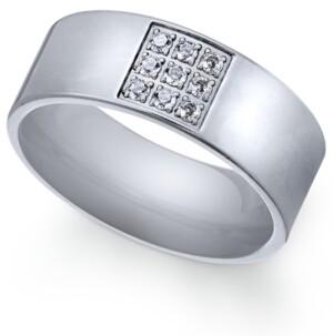 Sutton by Rhona Sutton Men's Stainless Steel Cubic Zirconia Ring