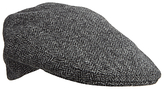 Olney Herringbone Wool Flat Cap, Grey
