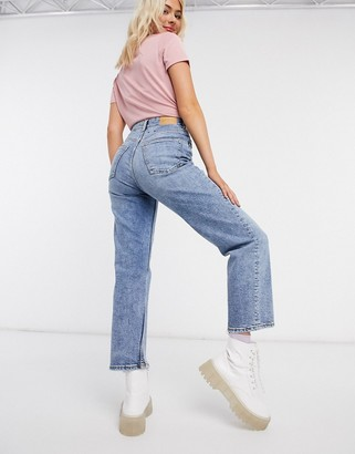Monki Zami super high waist straight leg cropped jeans in vintage blue