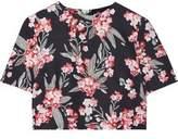 Jonathan Saunders Bibbi Cropped Floral-Print Twill Top