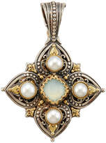Konstantino Amphitrite Cushion-Cut Agate & Four-Pearl Cross Pendant Enhancer